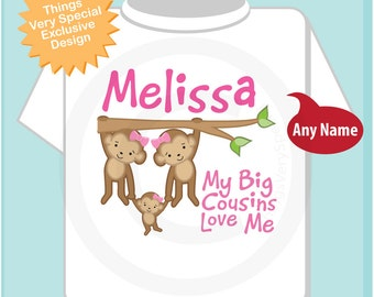 Personalized My Big Cousins Love Me Onesie or Tee Shirt with cute little monkeys (03182014h)