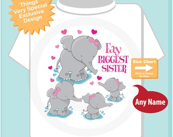 Elephant Biggest Sister Shirt, Pregnancy Announcement, Biggest Sister as Oldest child of four girls. 03242015f