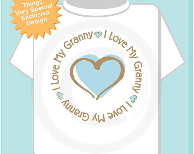 I Love My Granny Onesie - Boy's Personalized I Love My Granny with Blue Heart Tee Shirt or Onesie 03032014b1