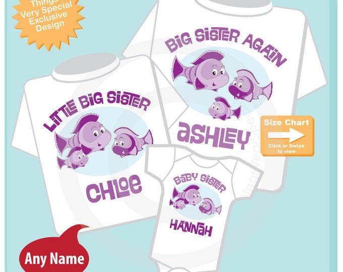 Sibling Fish Shirt Set, Set of Three, Big Sister Again Shirt, Little Big Sister, and Baby Sister, Personalized Shirt or Onesie (09082014e)