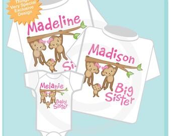 Set of Three Twin Big Sister Shirts and Baby Sister Onesie, Twin Big Sister Monkeys with baby, Personalized (01242014b)