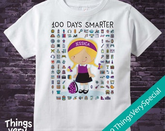 100 days of school personalized shirt, 100th day of school shirt, 100th day shirt, 100 days smarter personalized cotton t-shirt 01172019a
