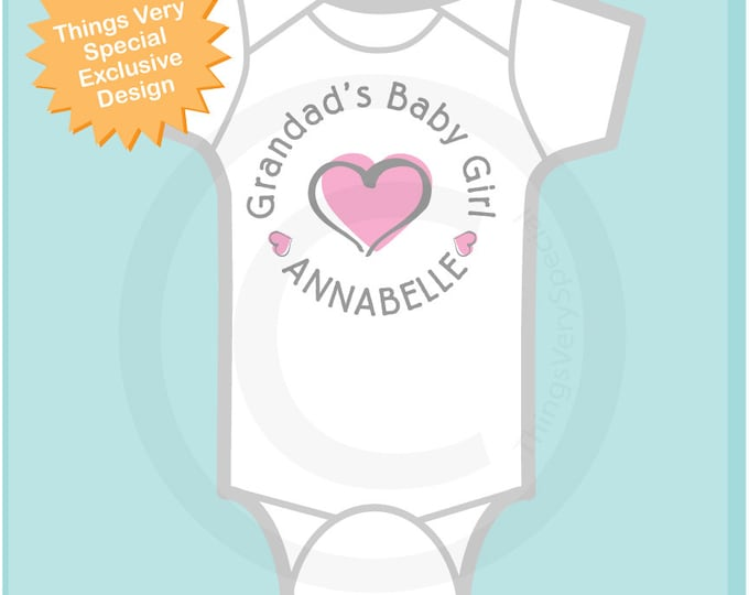 Girl's Personalized Grandad's Baby Girl with Pink Heart Onesie or Tee Shirt (02152014a)