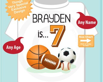 Sports Birthday Shirt - 7th Birthday Sports Theme Shirt, Personalized Boys Seventh Birthday Shirt with Child's Name and age 07092018a