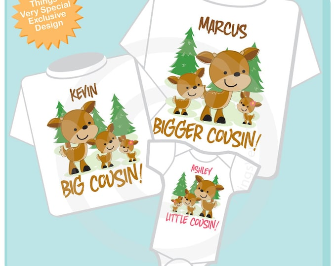 Set of Three, Personalized Bigger Cousin, Big Cousin Shirt, Little Cousin Shirt or Onesie (02202015h)