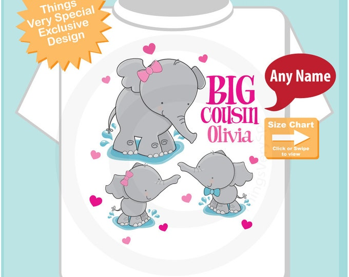Elephant Big Cousin Shirt with twins 1 boy 1 girl, Big Cousin Elephant Tee Shirt or Big Cousin Onesie Pregnancy Announcement (08052014a)