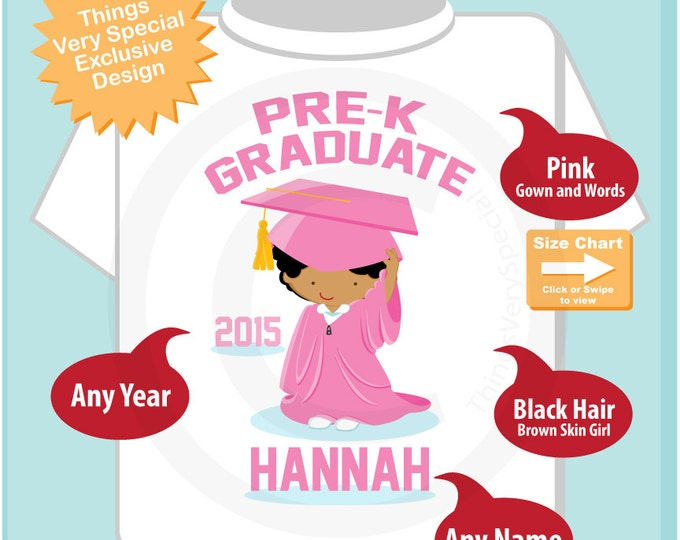 Pre K Shirt, Pre-Kindergarten Graduate Shirt, Personalized for your little girl with year, name and color (06032014b)