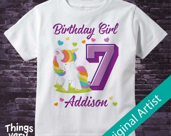 7th Birthday Girl Unicorn Birthday Shirt, Personalized Girl's Seventh Birthday Shirt, Rainbow Unicorn Birthday Theme 12202018b