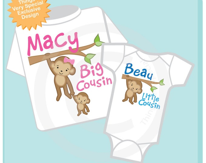 Set of two - Big Cousin Little Cousin t-Shirt and Onesie set - Personalized Monkey Jungle Theme Cousin girl and boy (04092013a)