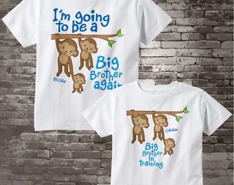 Set of Two Personalized I'm Going to Be A Big Brother Again and Big Brother in training Tee Shirts or Onesies 10052015e