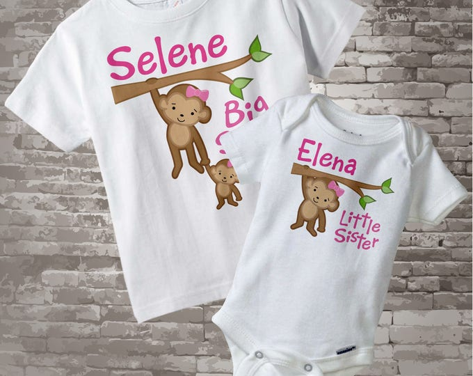 Big Sister Little Sister Outfit Shirt set of 2, Sibling Shirt, Personalized Tshirt with Cute Monkeys, Sprinkle Baby Shower Gift 01022014b