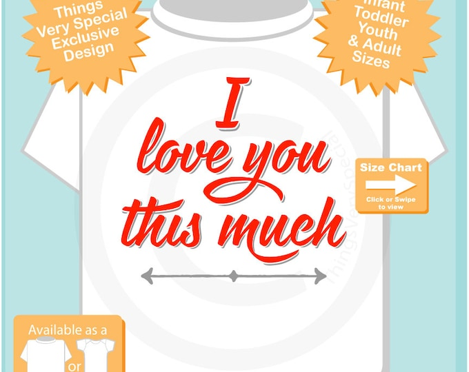 I Love you this much t Shirt with red letters - Boy's or Girl's Valentine shirt - I love you t shirt - heart tshirt kids  01282016a