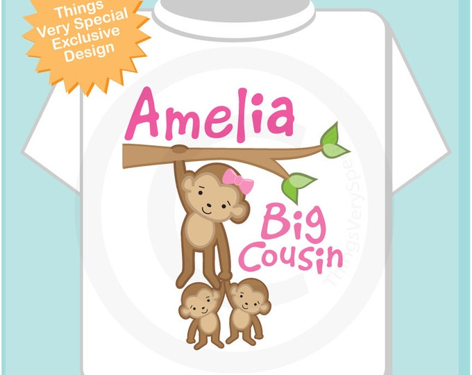 Big Cousin Shirt or Onesie, Big Cousin Monkey with twin babies, Personalized Big Cousin with Two Little unknown sex babies Shirt (07302012c)