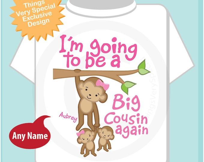I'm Going to Be A Big Cousin Again Shirt, Big Cousin Again Onesie, Personalized Big Cousin Again Monkey Shirt one boy one girl (02282014c)