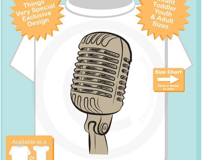 Microphone Shirt for Singer, Microphone Sketch T-Shirt or Onesie, Music Musician shirt 10232015a