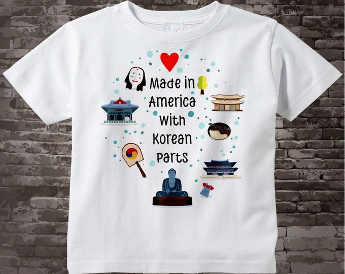 Made in America with Korean Parts Shirt or Onesie Bodysuit with Korean landmarks and art South Korean Coming Home Outfit top 10052017a