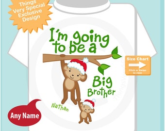 Boy's Personalized Santa Hat I'm Going to Be A Big Brother Monkey Shirt or Onesie with Christmas Theme, Pregnancy Announcement (11262012a)