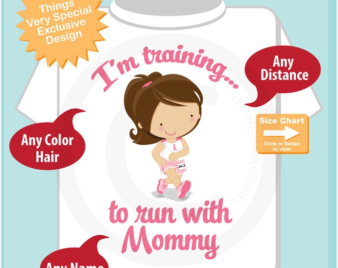 Girl's Personalized I'm Training to Run with Mommy Children's Tee Shirt or Onesie with Breast Cancer Pink Ribbon (04162015h)