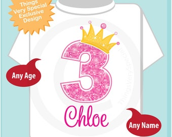 3rd Birthday Shirt, Pink 3rd Birthday Outfit top, Personalized Girls Birthday Shirt - Third birthday girl - birthday girl gift - 06132018a
