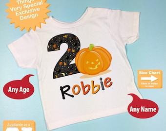Halloween Birthday, Second Birthday Pumpkin Tee Shirt or Onesie, 2nd Birthday Halloween Theme Tee Shirt, Any Age 10022012az