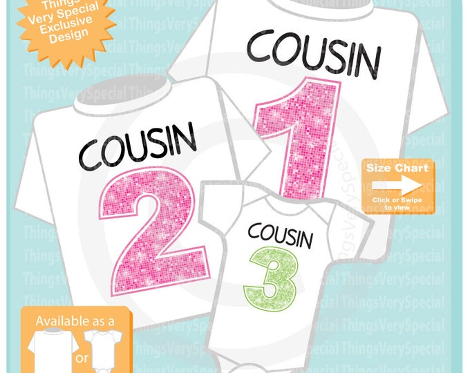 Set of 3, Cousin 1, Cousin 2 and Cousin 3 Tee Shirt or Onesie Pregnancy Announcement 08122019b