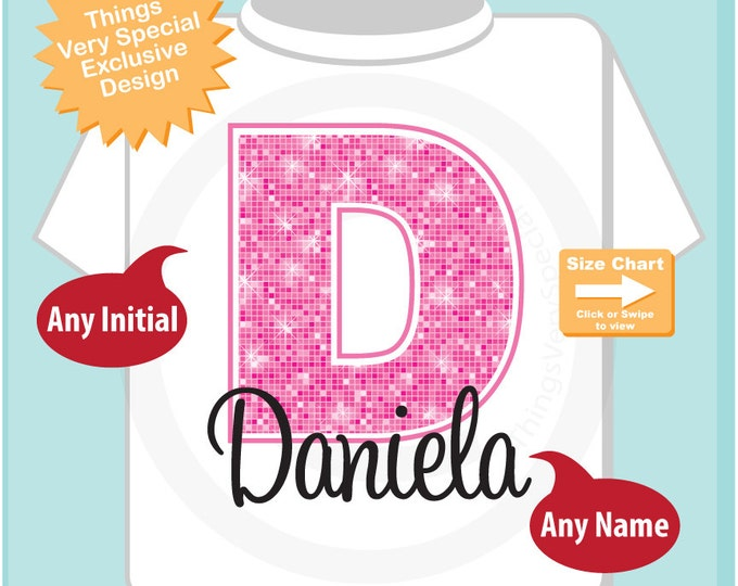 Pink Initial D Name Monogram Shirt Personalized Tee Shirt or Infant Onesie for Girls whos names start with D (05272015a)