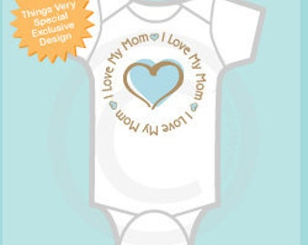 Personalized I Love My Mom or Mommy with Blue Heart Tee Shirt or Onesie