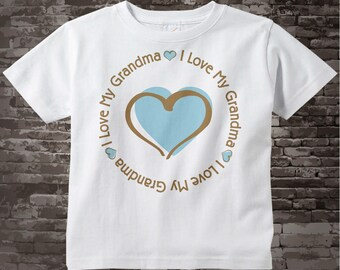 Boy's Personalized I Love My Grandma with Blue Heart Tee Shirt or Onesie 05012012h1