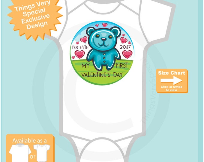 My First Valentine's Day Onesie Bodysuit, Short or Long Sleeve 01202017k
