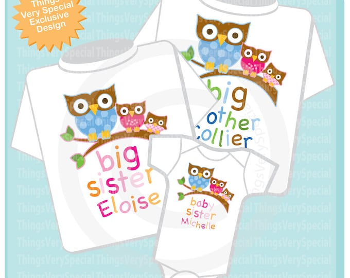 Set of Three, Big Brother Shirt, Big Sister Shirt and Baby Sister Onesie, Personalized Owl Tee Shirt or Onesie Set of Three 03152019e