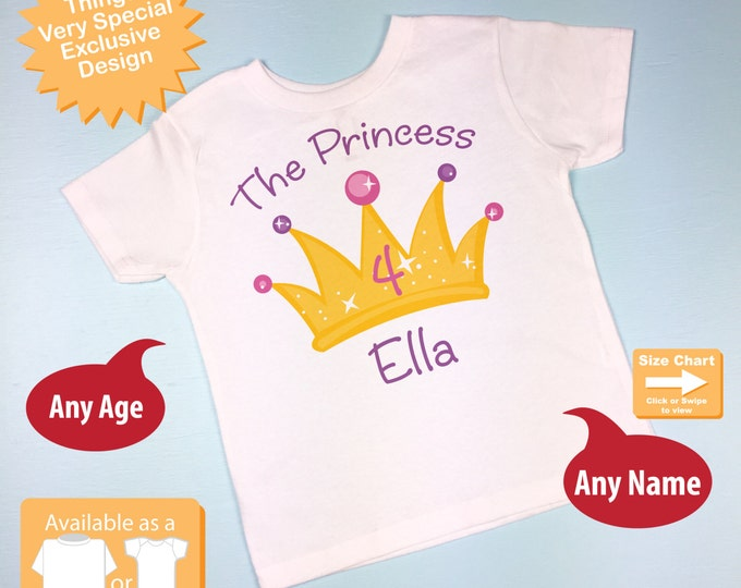4th Birthday Shirt, Personalized Princess Crown Fourth Birthday Girl Tee Shirt or Onesie any Age (03192014c)