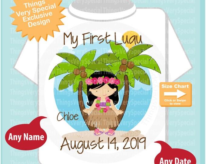 First Luau Shirt or Onesie Bodysuit, Girl's Hawaiian Luau shirt with name and Luau date 08142019b