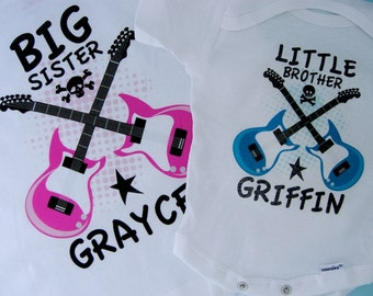 Set of Two Personalized Big Sister and Little Brother Guitar Rocker Shirt or Onesie Bodysuit - Rock Guitar Matching Set 02242015d