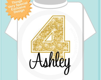 Fourth Birthday Shirt, Golden 4 Birthday Shirt, Personalized Girls Birthday Shirt Gold Color Age and Name Tee (01072014g)