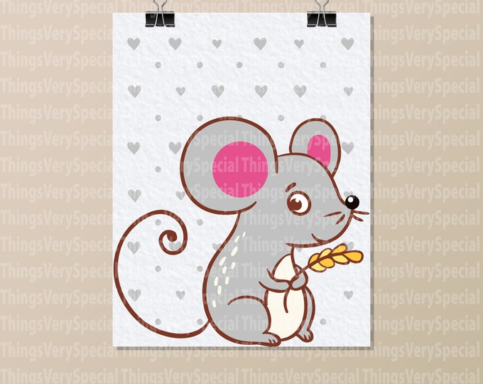 "Mouse Art Print, Children's Room Art Prints, Mouse Art Print. 8.5"" x 11"" Art Print for Children's Room. 09252019c"