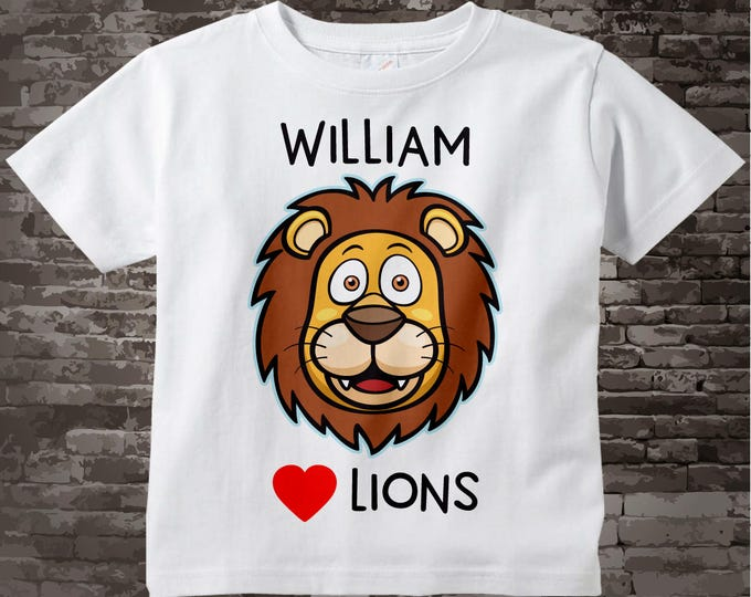 I love Lions Shirt or Onesie Bodysuit Personalized with name, has cute Lion face available in short or long sleeve 09252017b