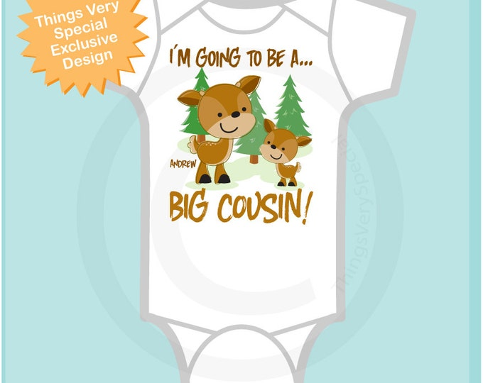 Personalized Big Cousin Woodland Deer Tee Shirt or Onesie, I'm going to be a Big Cousin with neutral sex baby deer (06112013a1)