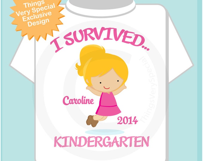 Personalized I Survived Kindergarten Shirt Kindergarten Graduate Shirt Child's Back To School Shirt or Onesie (05212012a)