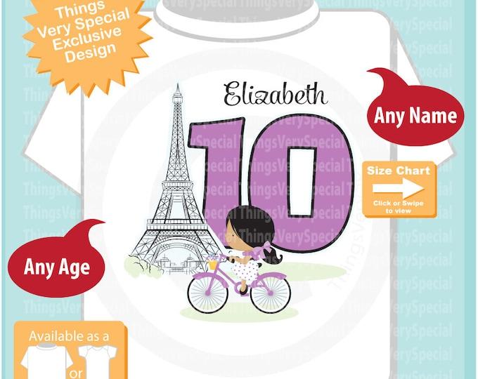 Paris Birthday Shirt for tenth Birthday, Purple 10 Birthday Shirt, Personalized Girls Birthday Shirt Purple Age Name Tee for kids 04042019a