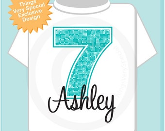 7th Birthday Shirt, Turquoise Seventh Birthday Shirt, Personalized Girls Birthday Gift, Light Teal Age Name Turquoise Birthday 11212017a