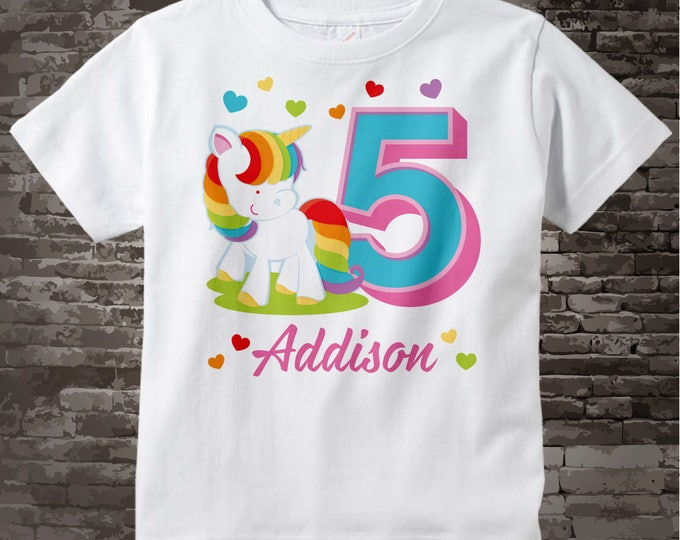 Rainbow Unicorn 5th Birthday shirt, Any age can be done, Cotton Tee shirt personalized with name and age. 11062017d
