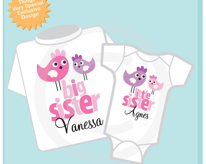 Big Sister Little Sister Shirt set of 2, Sister Bird Shirt, Sibling Shirt, Personalized Tshirt with Cute Pink and Purple Birdies (12312012a)