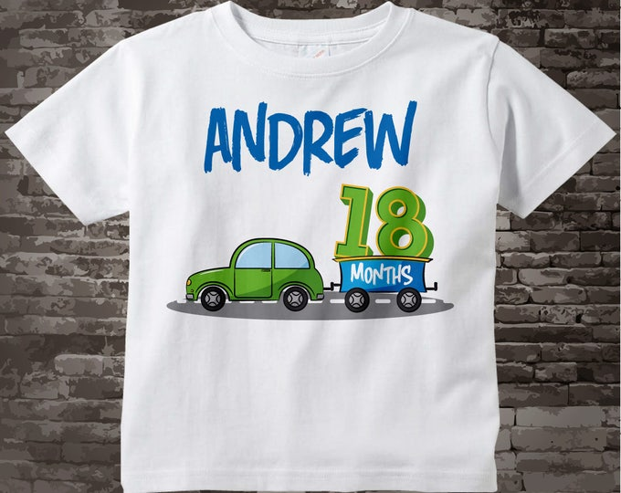 Boy's One and a Half Birthday Shirt or Onesie Bodysuit with car theme Personalized with Name, Cotton Tee shirt or Onesie Bodysuit 09292017az