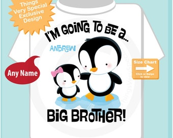 Penguin I'm Going to Be A Big Brother Onesie showing baby sister penguin, Personalized Big Brother Shirt with Girl Sex Baby 09042014a