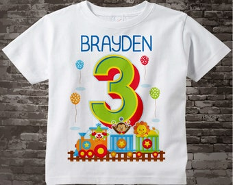 Circus Birthday Shirt with Name, three year old Birthday Shirt, Personalized Circus Theme Birthday Theme 09282017b