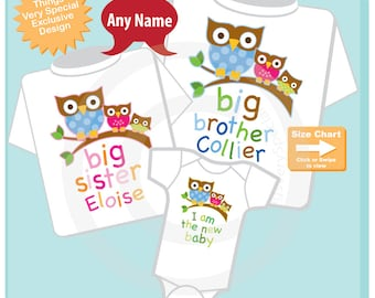 Set of Three, Big Brother Owl Shirt, Big Sister Owl Shirt, and I am the New baby Onesie Set Personalized Big Brother and Sister 10122014a
