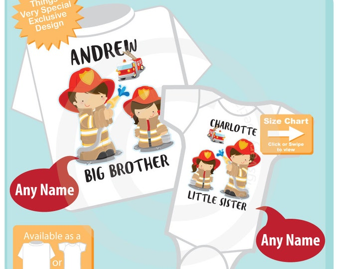 Fireman Matching Sibling Set, Firefighter Big Brother Little Sister, Personalized Firefighter Tee Shirt and Onesie Set of Two 08122015d