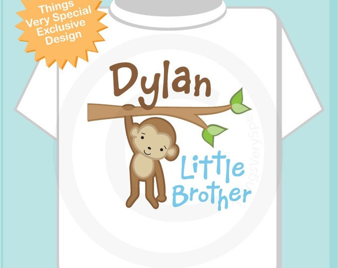 Little Brother Shirt, Pesonalized Little Brother Monkey Tee Shirt or Onesie (10272010a)