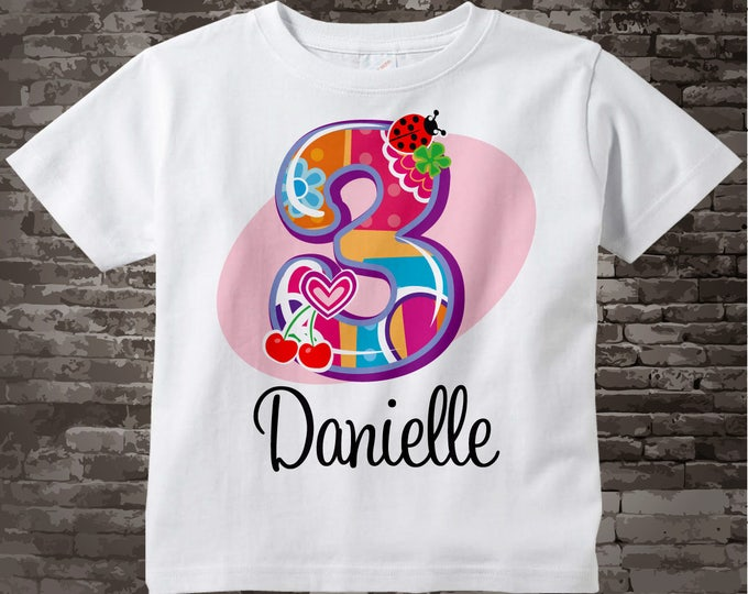 3rd Birthday Shirt, Three Year Old Shirt with Name, Third Birthday Shirt, Fancy Number 3rd Birthday Shirt, Personalized Birthday 08192014c