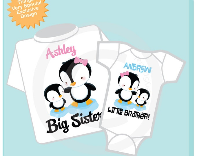 Big Sister Little Brother Shirt set of 2, Sibling Shirt, Personalized Tshirt with Cute Penguins (07202012d)